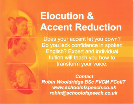 Elocution & Accent reduction marketing card